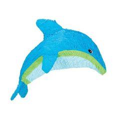 """Delfin Piñata. Schöne Dekoration und Partyspiel für einen Geburtstag mit dem Motto """"Meerjungfrau"""" oder """"Unter Wasser"""". 45 cm hoch und 50 breit. Material: Pappe mit buntem Papier. Ungefüllt."""