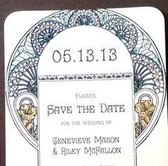 Gatsby Garden Save The Date Cards - Art Nouveau 1920s Wedding Invitation - SAMPLE. $1.50, via Etsy.