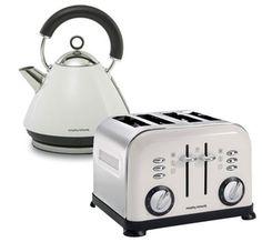 Morphy Richards 43774 - White Pyramid Kettle / 44037 4 Slice White Toaster - Accents Range