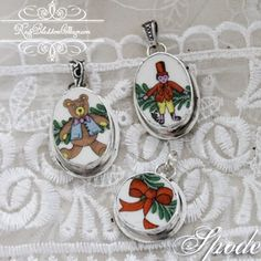 Vintage Christmas Spode china artfully crafted into Broken China Jewelry pendants, http://www.RoseBlossomCottage.com