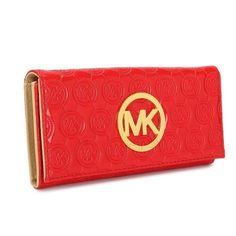 Michael Kors Monogram Flap Continental Large Red Wallets