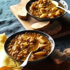 This is a nice warming soup on a chilly day. Lentils are so good for you, too! —Mary Smith, Columbia, Missouri Lentil Soup Recipes, Pumpkin Chili, Chilli Recipes, Pressure Cooker Lentils, Pressure Cooker Recipes, Pressure Cooking, Pressure Pot, Korma, Soups