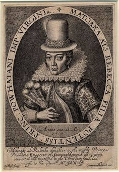 Portrait of Pocahontas on her visit ot England; 1616 engraving by Simon van de Passe and portraits by English School after the engraving