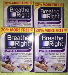 Other Sleeping Aids: 128 Breathe Right Nasal Strips Lavender Adult Size Nose Band Stop Snoring Breath BUY IT NOW ONLY: $41.99