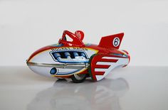 Tin toy rocket racer wonderful toy collectible NOT by RetroTalk Toy Rocket, Space Toys, Sci Fi Characters, Tin Toys, Space Age, Retro Futurism, Art Model, Spaceships, Rockets