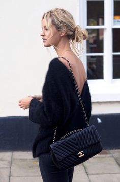 Sweater, Chanel, messy bun