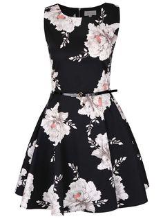 Černé šaty s šedými květy Apricot