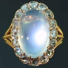 Late nineteenth century Victorian cabochon moonstone and rose cut diamonds ring