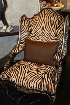 """wing back chair/ Marge Carson - Zebra print """"done right""""!"""