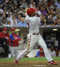 SAN DIEGO, CA - JUNE 26: Delmon Young #3 of the Philadelphia Phillies hits a two-run home run during the eighth inning of a baseball game against the San Diego Padres at Petco Park on June 26, 2013 in San Diego, California. (Photo by Denis Poroy/Getty Images)