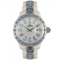 Toy Watch White and Blue Full Stone Gem Watch