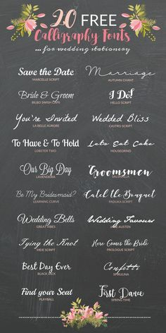 Wedding Design 20 of the prettiest FREE caliigraphy fonts for your DIY wedding invitations - If you're DIYing your own invitations then check out these 20 free calligraphy fonts that you can use to create super pretty wedding stationery. Wedding Invitation Fonts, Beautiful Wedding Invitations, Diy Invitations, Wedding Stationery, Invitation Wording, Invitations Online, Invitation Ideas, Invitation Cards, Rsvp Wording
