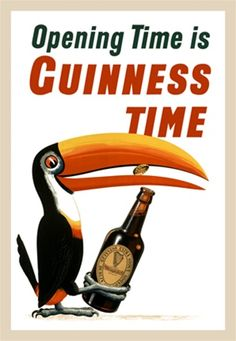 Opening Time is Guinness Time beer poster by Gilroy 1936 English - Beautiful Vintage Poster Reproduction. English wine and spirits poster features a toucan bird popping a cap off a bottle of beer with his beak. Beer Advertisement, Advertising, Guinness Advert, English Beer, Beer Commercials, Pub Vintage, Premium Beer, Wine Tasting Events, Beer Poster