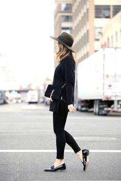 Classic style, french girl style, wide brim hat, YSL crossbody bag, patent leather loafers, spring transitional outfit ideas