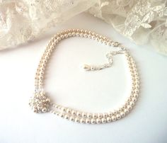 Pearl Choker Necklace, Bridal Necklace, IVORY or WHITE, Statement Necklace, Multi Strand, Wedding Jewelry, Prom Jewelry, Costume Jewelry