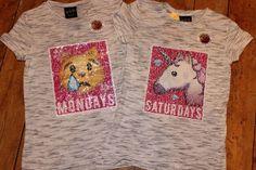 8fe9e877b7391 Primark Girls MONDAYS SATURDAYS T Shirt Tee Top BRUSH SEQUINS UNICORN  CRYING CAT Sequin Top