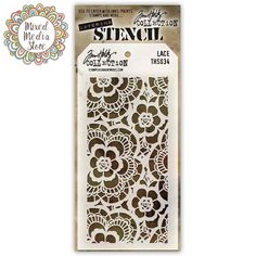 Tim Holtz Stencil Lace for awesome texture in your mixed media art! - Get yours at https://mixedmediastore.com.au :)