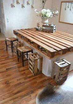 Pallet Dining Table With Wooden Crates As Bar Stools Love This Idea For A Kitchen Island