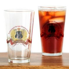 German Shepherd Owner Crest Drinking Glass on CafePress.com
