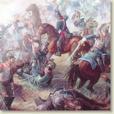 Depicted is a painting of the Battle of Waterloo. This would be Napoleon's final defeat before his exile. He attempted to retreat back to France after his loss, but instead discovered that he must reside on the barren island of Saint Helena.