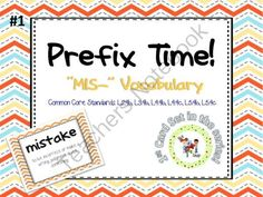 "Prefix Time! MIS- - An interactive PowerPoint AND Printable word/definition cards that you can use to teach and practice the prefix ""mis-"".  20 word root cards 20 ""mis-"" word cards (with definition)  PowerPoint activity presents the root word first. When clicked, the ""mis-"" word and definition appear.  IDEAS FOR YOUR CLASSROOM/THERAPY ROOM: -Play Memory with printable deck -Have students use words in a sentence -Fill-in-the-blank sentences.  A GIVEAWAY promotion for Prefix Time! Series #1…"