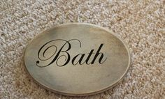 My Cottage Charm: How to Make a Hallway Sign Lettering Styles, Vinyl Lettering, Bath Sign, Bathroom Signs, Bathroom Ideas, Bathroom Interior, Diy Letters, Harvest Decorations, Oak Stain