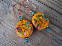 Artisan Lampwork Copper and Swarovski Earrings by gristmilldesigns, $16.95