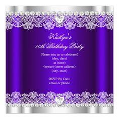 Elegant Royal Purple Lace Silk Birthday Party Custom Announcements