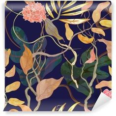 trendy seamless pattern with harbor theme, watecolor plants Self-Adhesive Wall Mural