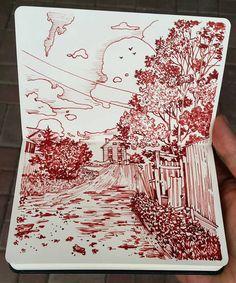 Дорожка вверх/path to the top, evening #sketch #moleskine #twsb #art #artwork #drawing #drawings #ink #penandink #sketchbook #worksonpaper #sketchbookdrawing #illustration #dibujo #Regram via @alexsaypast