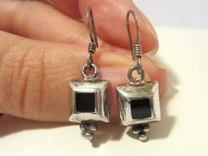 Vintage Sterling silver Inlaid Black Oynx by wandajewelry2013, $15.00