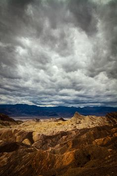 Cloudy Sunset, Zabriskie Point, Death Valley National Park, California; photo by .Greg Clure