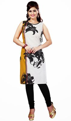 Trendy orange and white cotton tunic is a formal kurti which is embellished with half n half color and black floral digital print which makes you center of attraction of everybody's eyes. #StylishClassicalKurtis