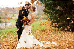 bride and groom, falling leaves