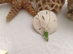 Sea glass pendant on sterling silver necklace on Etsy by WSJ