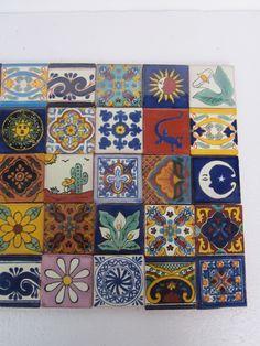 "Talavera Tiles 2"" x 2"" Colored Mexican Folk Art Pottery"