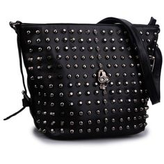 Mn&Sue Gothic Black Skull Studded Rivet Bucket Women Crossbody... ($25) ❤ liked on Polyvore featuring bags, handbags, shoulder bags, skull crossbody purse, bucket shoulder bag, bucket purse, bucket handbags and hobo shoulder bags