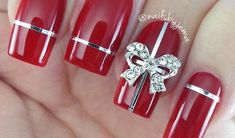 MsMee - Top Latest Nail Art Designs on 25 Different Shapes and Types Gel Nail Art Designs, Holiday Nail Designs, Nail Designs Pictures, Winter Nail Designs, Cute Nail Designs, Red Gel Nails, Red Acrylic Nails, Gold Glitter Nails, Christmas Shellac Nails