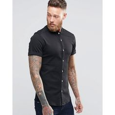 fd73c305e5fb1 ASOS Skinny Denim Shirt In Black With Grandad Collar In Short Sleeve (110  ILS)