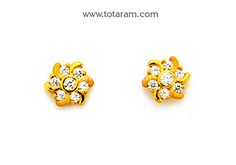 Gold Earrings for Women in 22K Gold with Cz - GER6624 - Indian Jewelry from Totaram Jewelers
