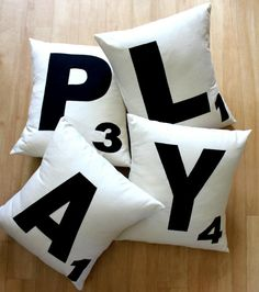 f you love scrabble then look not further than these trendy cushion covers.   HOME  FUN   PLAY   LOL  XOX  ME&U  LOVE   Initials  & Childrens names are all popular options.  **Cushion inserts not included**  *****Please note that these are made upon ordering with wait times sitting on 3 weeks plus delivery