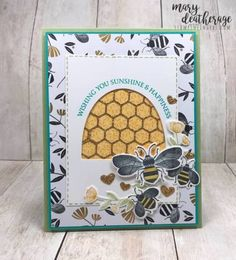 stampin up 2020 cards - Valentinstag Dekoration Honey Bee Stamps, Golden Honey, Bee Cards, Hand Stamped Cards, Scrapbook Cards, Scrapbooking, Stamping Up Cards, Bee Happy, Butterfly Cards