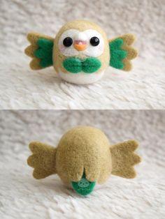 Needle Felted Felting Woolfelt Pokemon Rowlet Owl by xxNostalgic