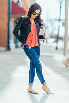 Weekend Wrap :: Leather Jacket & Wrap Blouse | Color & Chic