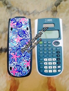 "Lilly Pulitzer Inspired ""She She Shells"" Monogrammed Calculator"