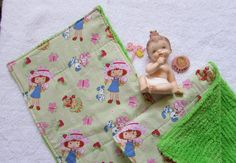 2 Strawberry Shortcake Baby Burp Cloths - Cotton Fabric and Chenille -  Girl Baby Gifts - Butterflies Flowers by SweetLibertyStudio on Etsy