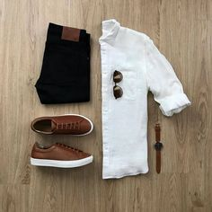 Mens Casual Dress Outfits, Formal Men Outfit, Casual Wear For Men, Stylish Mens Outfits, Fashion Outfits, Casual Shirt, Fashion Ideas, Men's Fashion, Fashion Guide