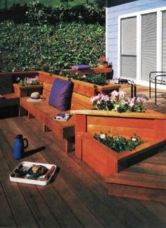 """Deck Plans 283163895295977110 - Big idea for small space: TLC Home """"Deck Ideas: Beneficial Built-In Planters"""" Maybe on either side of my built-in bench? Source by erinvsimpson Deck Furniture, Outdoor Furniture Sets, Outdoor Decor, Small Deck Ideas On A Budget, Deck Planters, Planter Bench, Planter Ideas, Laying Decking, Diy Deck"""