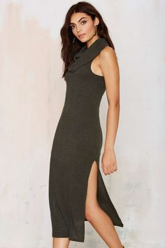 Lizzy Cowl Neck Knit Dress - Olive | Shop Clothes at Nasty Gal!