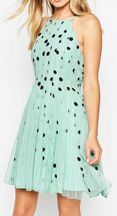 ASOS Spot Mesh Fit and Flare Mini Dress